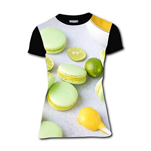 Macarons Key Lime Curd T-Shirts Tee Shirt for Women Pregnant Tops Round Black (Halloween Macaron Ideas)