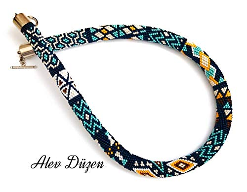 Bead Crochet Necklace navy color Beaded rope Necklace Handmade bead Beadwork Necklace woman jewellery gift for her