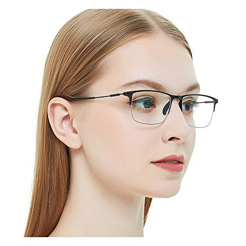 OCCI CHIARI Eyeglasses Non-Prescription Optical Glasses Classic Eyewear TR90 Half Frame With Clear Lenses (Black 52mm)