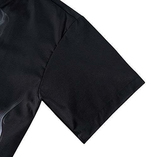 RAISEVERN Men\'s Ugly Hawaiian Shirt Button Down Blouse Short Sleeved Tshirt Adult 3D Crazy Skull Pattern Tops Casual Summer Aloha Party Regular Slim Black Apparel