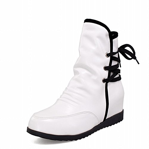 Latasa Womens Chic Pleated Lace-up Plaid Inside Mid-heel Ankle-high Casual Boots White