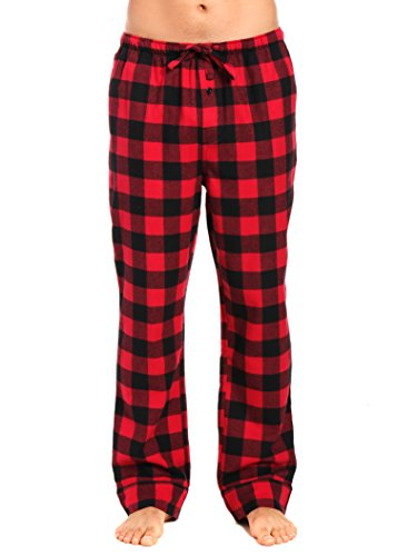 Gingham Flannel (Noble Mount Men's Premium Flannel Lounge Pants - Gingham Checks - Black-Red - Large)