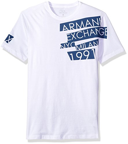 A|X Armani Exchange Men's Crew Neck Ax Nyc 1991 Graphic Jersey Tee, White, Large