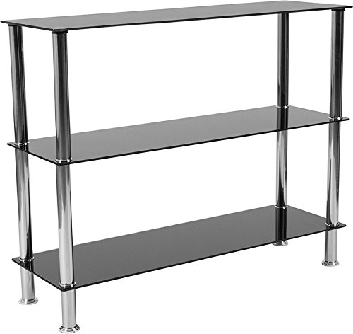 ModHaus Living Contemporary Black Tempered Glass Display Shelf with 3 Shelves and Stainless Steel Frame - Includes Pen