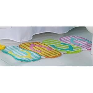 Amazoncom flip flop beach bathroom decor bath shower rug for Flip flop bathroom decor