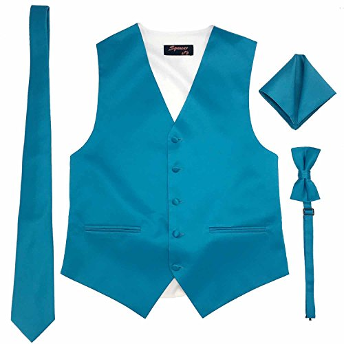 Spencer J's Men's Formal Tuxedo Suit Vest Tie Bowtie and Pocket Square 4 Piece Set Variety of Colors (S (Coat Size 35-37), Turquoise) (Satin Tuxedo Vest Turquoise)