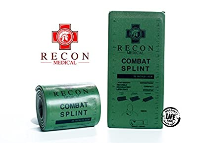 Combat Splint- (Olive Green) Recon Medical Combat Splint 36 inches Lightweight Reusable WaterProof First Aid Medical Tactical Registration Card! (1 Pack)
