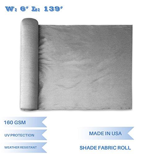 139' Light (E&K Sunrise 6' x 139' Light Grey Sun Shade Fabric Sunblock Shade Cloth Roll, 95%UV Resistant Mesh Netting Cover for Outdoor,Backyard,Garden,Greenhouse,Barn,Plant (Customized Sizes Available))