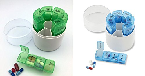 His and Hers Weekly Pill Organizer - Green and Blue by Unknown
