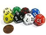 Set of 8 D12 12-Sided 18mm Opaque RPG Dice - Assortment of Colors by Koplow Games