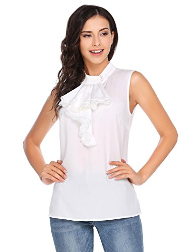 Womens Summer Sleeveless Blouse Ruffle Vest Tank Tops Lace Frill Shirts (Ruffles Lace Top Blouse)