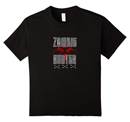 Kids Zombie Hunter Costume T-Shirt Scary Halloween 12 Black