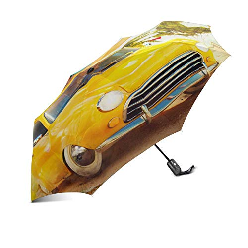 Car Tree One Funny (InterestPrint Funny Retro Car with Surfboard and Suitcases on Tropical Beach and Palms Tree 100% Polyester Windproof Fabric Travel Umbrella, Automatic Open and Close Folding UV and Rain Umbrella)