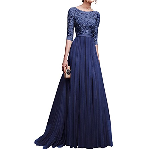 (Women's Vintage Floral Lace 3/4 Sleeves Long Cocktail Bridesmaid Maxi Dress Floor Length Retro Formal Wedding Pageant Evening Prom Party Dance Gown Plus Size V-Neck Pleated Swing Dress Navy L)