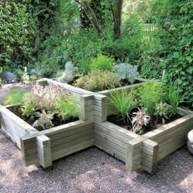 Maceta de esquina de madera para jardín: Amazon.es: Jardín