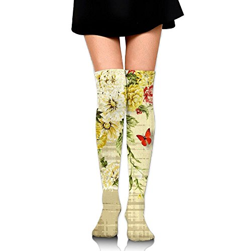 PengMin Vintage Roses Shadow Cotton Compression Socks For Women. Graduated Stockings For Nurses, Maternity, Travel, Flight,Varicose Veins,Running & Fitness, Calf Support. -