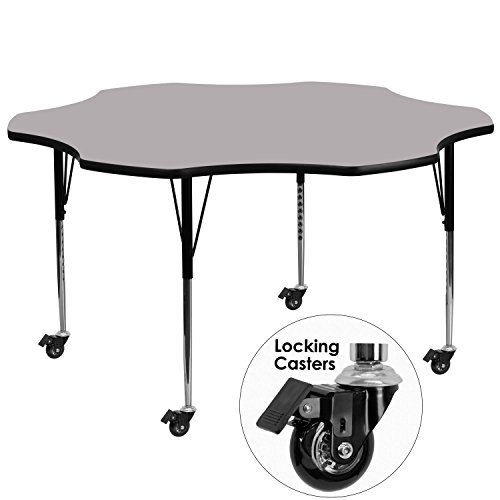 Flash Furniture Mobile 60'' Flower Grey Thermal Laminate Activity Table - Standard Height Adjustable Legs