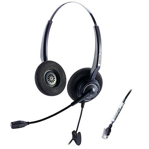 Arama Corded Headset w/Noise Canceling Mic for NEC Aspire Dterm Nortel Norstar Meridian Plantronics Polycom ShoreTel Siemens ROLM Toshiba Zultys Packet8 Landline Deskphones (A200D2)