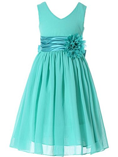 Bow Dream Flower Girl Dress Junior Bridesmaids V-Neckline Chiffon Turquoise 6]()