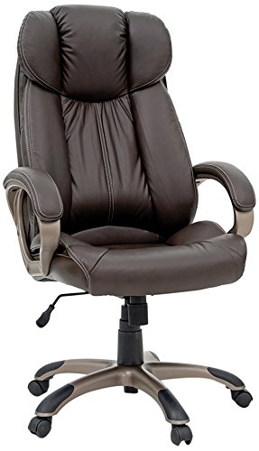 High Quality Sauder 411903 Deluxe Leather Executive Chair, Brown