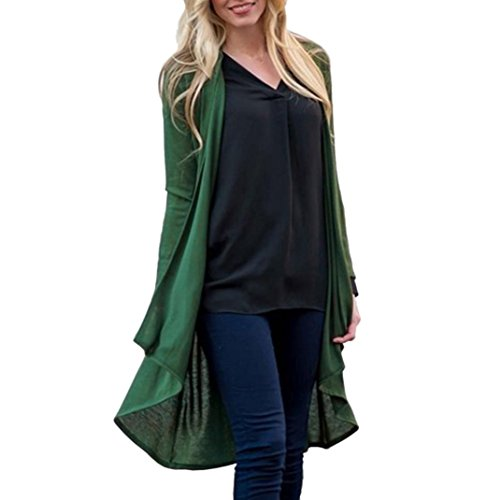 vermers Hot Sale Fashion Kimono Cardigan Tops Womens Solid Shawl Print Cover Up Blouse Beachwear(3XL, Green) by vermers