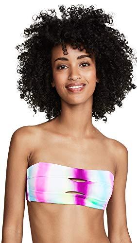 Top Bandeau Keyhole (PilyQ Women's Keyhole Bandeau Top, Tie Dye, Pink, Print, Large)