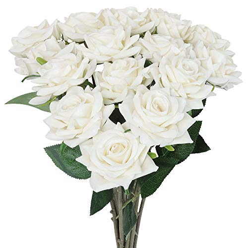 AmyHomie Artificial Flowers 15pcs Silk Flannel Roses Bouquet Home Wedding Decoration for Bridal Wedding Bouquet,Birthday Bunch Hotel Party Garden Floral Decor (White)