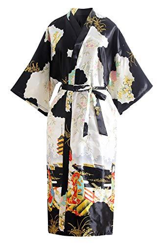 YAOMEI Dames Bruid Bruidsmeisje ochtendjas Kimono Satijn Nachtkleding Badjas Robe Geishabloemen Negligé Pyjama S-2XL