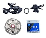 JGbike Compatible MTB groupset for Shimano M6000 10 Speed, KMC X10 Chain, Sunrace 11-46T/HG500 11-42T Cassette