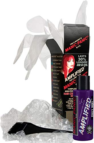 (Manic Panic Purple Violet Night Amplified Hair Coloring Kit, Vegan Semi-Permanent Purple Hair Dye Cream, 3X Pigments & Lasts 30% Longer Than Classic Formula (6-8 Weeks), Ammonia-free, Ready to Use)