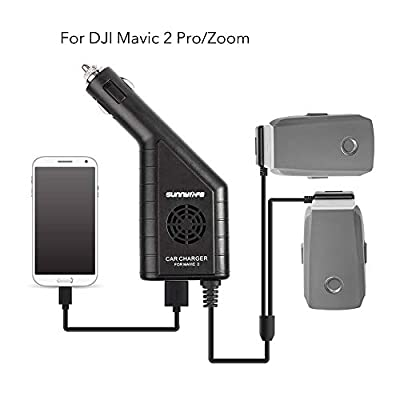 Car Battery Charger Accessories for DJI Mavic 2 Pro, Zoom,Triple Output (USB + 2 x Battery) with Safety Cover, Dual Battery Parallel Charger