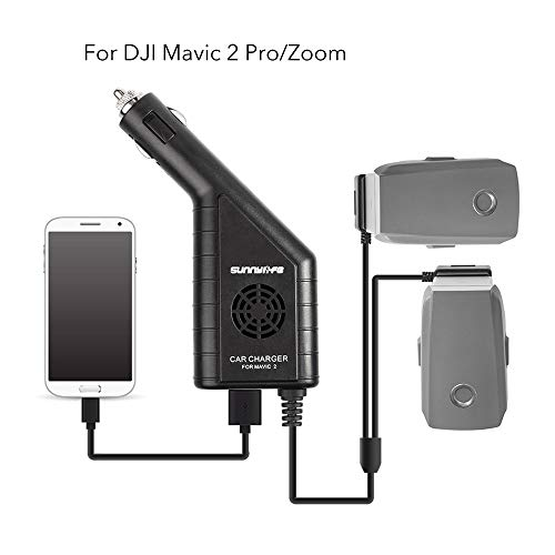 Car Battery Charger Accessories for Use with DJI Mavic 2 Pro, Zoom,Triple Output (USB + 2 x Battery) with Safety Cover, Dual Battery Parallel Charger