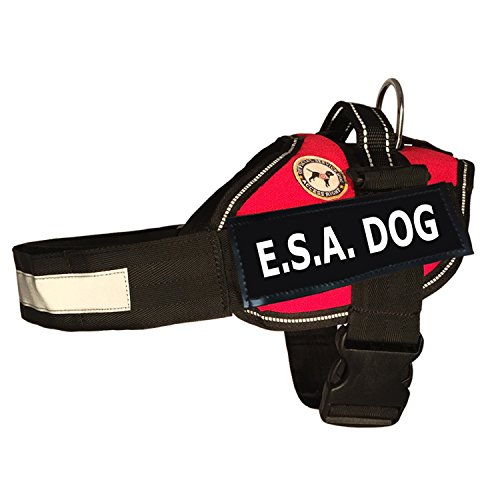 E.S.A. DOG - Vest + Service Dog Rights Booklet - (Emotional Support Animal) (XX-SMALL, RED)