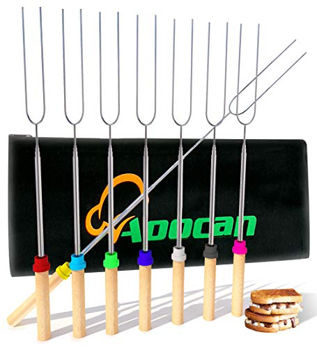 Aoocan marshmallow roasting sticks Telescoping Rotating Smores Skewers Hot Dog - 45 inches - Set of 8 smores sticks for fire pit, Campfire, Camping, Bonfire and - Roasting Marshmallow Sticks