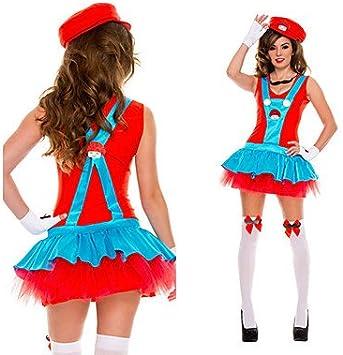 Super Mario Luigi Brüder fontanero Red poliéster mujer Carnaval ...