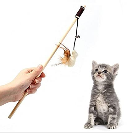 amazon com uchic 4pcs cat teaser interactive cat wood wand with