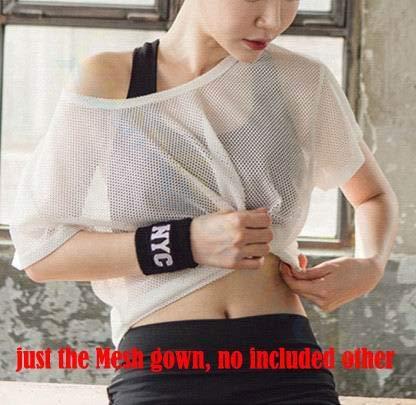 SGYHPL Sommer Frauen Gym Sport Weste Ärmelloses Shirt Fitness Laufbekleidung Tanktops Workout Yoga Unterhemden Quick Dry Tuniken M Mesh Kleid Weiß