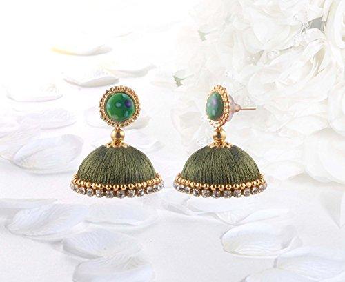 Dia Olive - Krishna Handmade Ethnic Button Earrings [1 set of Earring] [Color - Dark Olive] [Small size - 25mm Dia] [KR-Dark Olive-BT]