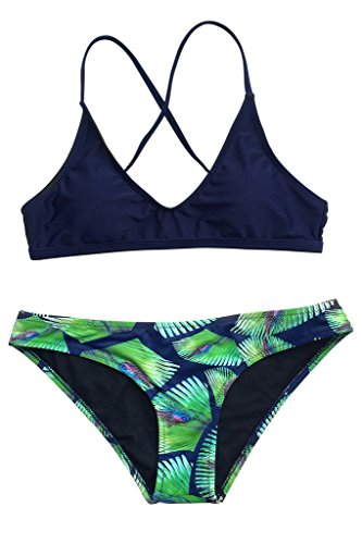 Seaselfie Women's Dark Blue Two Piece Padded Bikini Swimsuit with Peacock Feather Printing Small