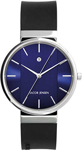 Jacob Jensen Unisex-Adult Analogue Quartz Watch with Rubber Strap JJ739
