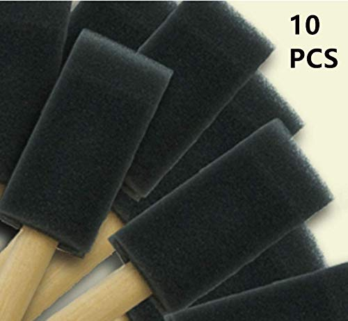 10 pcs Poly Foam Brushes Foam Sponge Wood Handle Paint Brush Set Perfect for Professional Paint Job, Oil Stain, Acrylics, Stains, Varnishes,Watercolor, Art & Craft Project