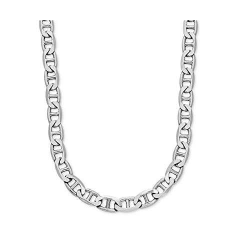 - Verona Jewelers 925 Sterling Silver 3.5MM 4.5MM Solid Flat Mariner Link Chain Necklace- Sterling Silver Necklace Chain 18