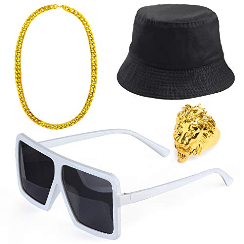 Beelittle 80s/90s Hip Hop Costume Kit Cool Rapper Outfits,Bucket Hat Sunglasses Gold Plated Chain (T)]()