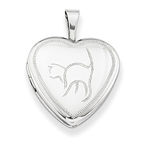 - Lex & Lu Sterling Silver w/Rhodium 16mm Cat Heart Locket