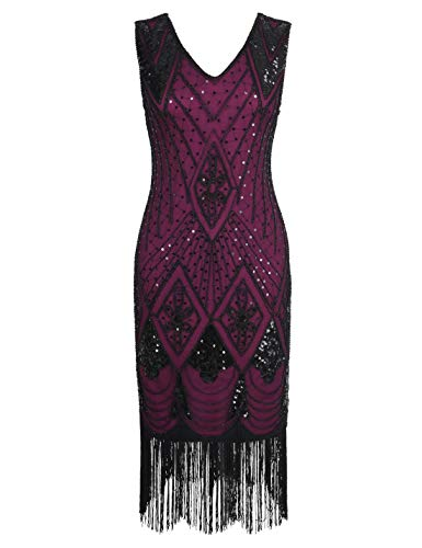 PrettyGuide Women 1920s Dress Gatsby Cocktail Sequin Art Deco Flapper Dress XXL Black Rose