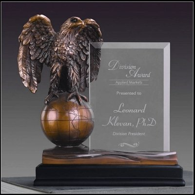 Order Fast Awards Globe Eagle Award Bronze Color with Glass Free Engraving