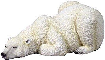 9.25 Inch Sleeping Polar Bear Decorative Statue Figurine, White