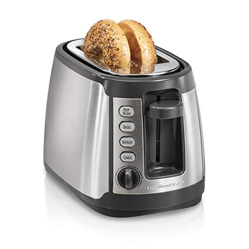 Hamilton Beach 22816 Slice Toaster with Keep Warm, Bagel, Defrost Settings, Silver with Gray