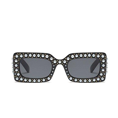 Gafas Rectángulo Mujer TIANLIANG04 Sol Negro Moda De Gafas Mujer Sol De Cuadrado Perla 55q4R7z
