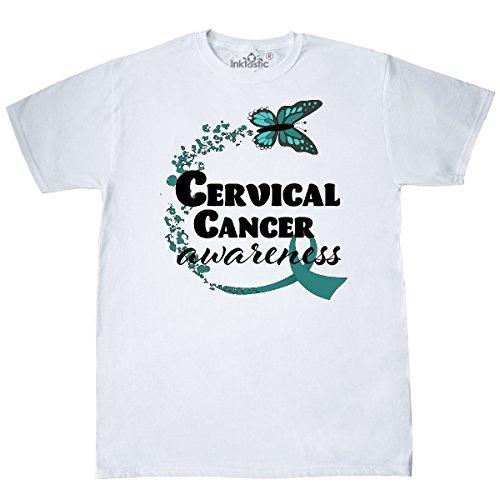 Cervical Cancer Support (inktastic Cervical Cancer Awareness Butterfly Ribbon T-Shirt Medium White)